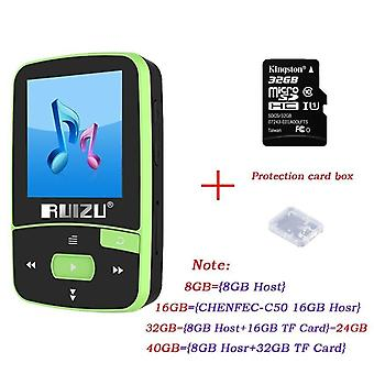 Ruizu MP3 Player Bluetooth 4.0HIFI Mini Clip MP3 Music Player with Screen Support FMClockPedometer Support Up to 128GB SD Card