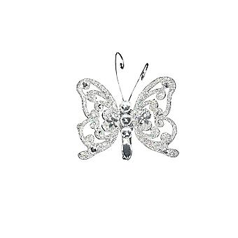 Pequena Gisela Graham Crystal & Glitter Butterfly Clip-On Decoração