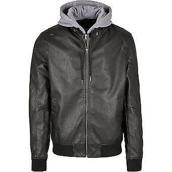 Urban Classics Men's Faux Leather Jacket Fleece Hooded