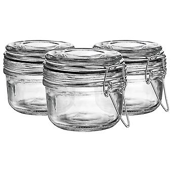 Argon Tableware Glass Storage Jars with Airtight Clip Lid - 125ml Set - Black Seal - Pack of 6
