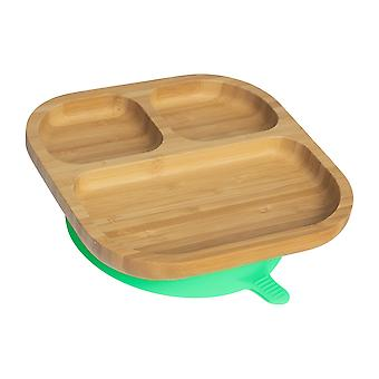 Tiny Dining Children's Bamboo Dinner Plate with Stay Put Succion - Segmented - Green