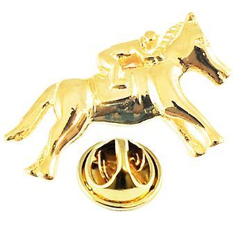 Krawatten Planet vergoldet Pferd & Jockey Anstecknadel Abzeichen