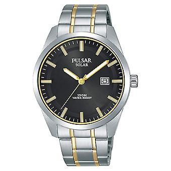Pulsar Mens Solar Stainless Steel Two Tone Bracelet 100M Watch (PX3169X1)
