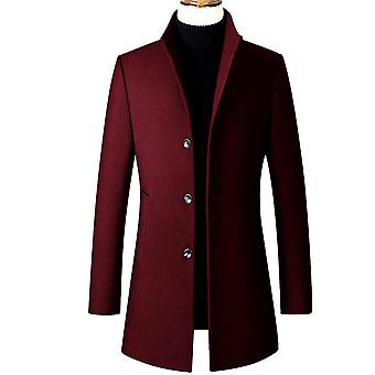 Mannen's Trench Coat Wool Blend Slim Fit Top Coat Single Breasted Business Overcoat