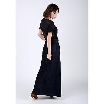 Womens long denim skirt - indigo
