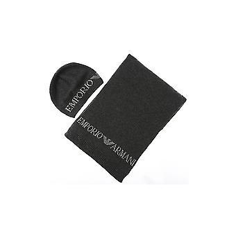 Emporio Armani Cotton Grey Scarf/hat Set