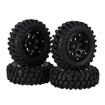 4pcs Black 8 Hole Wheel Rim w/ Beadlock + Rubber Tyre for RC1:10 Crawler