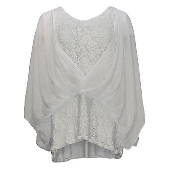 Laurie Felt Women's Plus Top Knit Lace Top Chiffon Sobreposição Branca A292618
