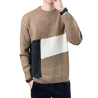 Allthemen Men's Fashion Sweater Winter Warm Round Collar Colorblock Trendy
