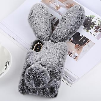 Cute Rabbit Ears Style Plush Case for iPhone X / XS (Grey)