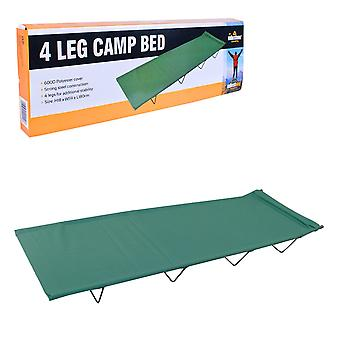 Milestone 4 Leg Folding Steel Camping Bed Green 180 x 59 x 18cm
