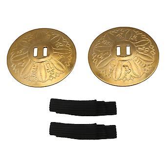 2P Carving Belly Dance Zills Dancewear Decoration Finger Cymbals Golden