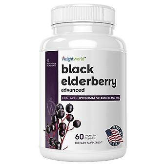 WeightWorld Black Elderberry Advanced  I 60 Capsules for 2 month supply I Enriched with Liposomal Vitamin C I Lactose & Gluten Free I Easy-to-swallow