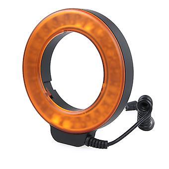 Lumière flash led circulaire avec 48 leds & 6 anneaux d'adaptateur (49mm/52mm/55mm/58mm/62mm/67mm) pour Macro Lens (Orange)