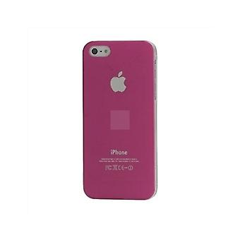 Iphone 5 Hard Plastic Cover Bagetui med Apple-logo - Pink