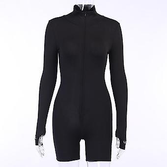 Fitness Playsuit Sportswear Long Sleeve Zipper Embroidery Women's Jumpsuit