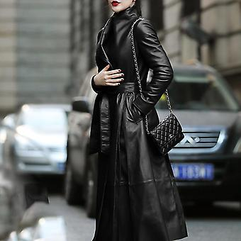 Autumn Long Leather Trench Coat, Sleeve, Skirted Faux Leather Coat, Women Plus