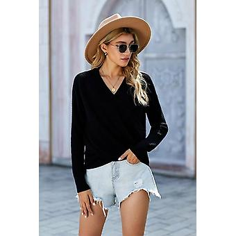 Deep V-neck Long Sleeve Knit Sweater