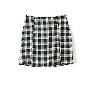 Γυναίκες Plaid Streetwear Slim A-line Φούστα Υψηλή Μέση Split Σύντομη