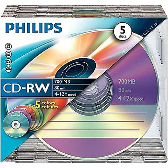 Philips CD-RW 80MIN Blank 5 pack - Jewel Case 700MB 4-12x Speed - CW7D2CC05/00