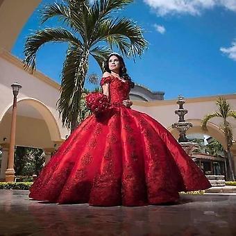 Robes rouges de quinceanera de robe de bal