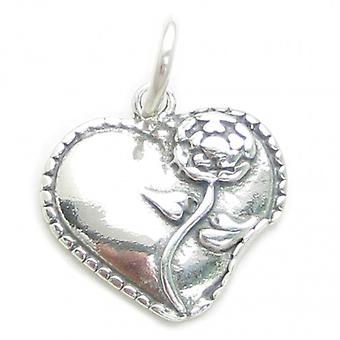Heart With Flower Sterling Silver Charm 925 X1 Hearts Flowers Love Charms - 3215