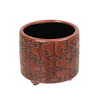 Südwestlicher geometrischer Stil rot Keramik Pflanzer Topf 5,25 Zoll Durchmesser
