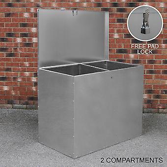 Large Feed Bins Storage 64L Galvanised Metal Waterproof Outdoor 2 Compartments