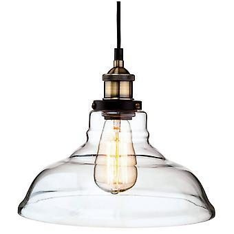 Lámpara Colgante 28 Cm Imperio, Latón Antiguo Y Vidrio