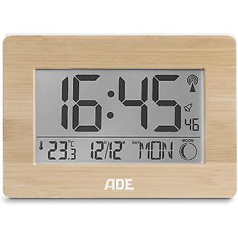 ADE Digital radio-controlled clock, Bamboo, 2.8 x 22.9 x 16.1 cm