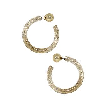 Gemini Gold Flecked Resin Hoop Earrings
