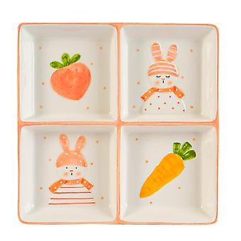 Easter Bunny Snack Plate Hand Painted Buffet Party Tableware 20cm White