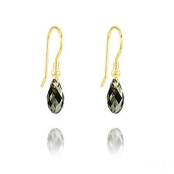 24K gold green swarovski crystal teardrop earrings