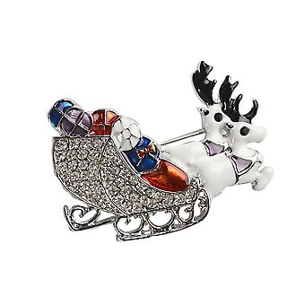 Shining rhinestone crystal double deers animal brooch collar clip pin clothes accessory jewelry scarf buckle