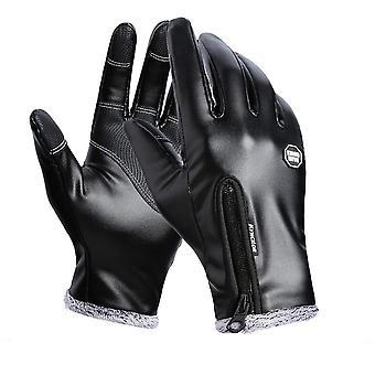 Winter men women cycling gloves full finger leather gloves waterproof windproof