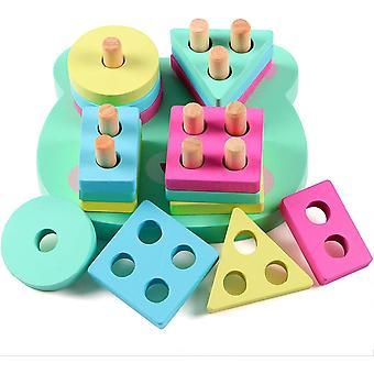 HanFei Holzpuzzles Geometrisches Stapel Steckspiel Farben und Formen Sortierspiel Lernspielzeug fr