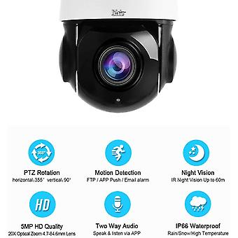 PTZ WiFi IP berwachungskamera Aussen,5MP 360 Dome Kamera,IP66 Wasserdicht,20x optischer