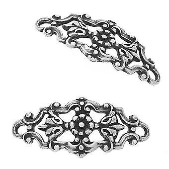 Antiikki hopea päällystetty filigree kukka ja lehdet kaarevat liittimet linkit 22mm (2)