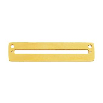 Final Sale - Centerline Beadable Pendant Link, with Rectangular Cutout and Holes 8x35mm, 1 Piece. Gold Plated