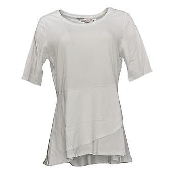 Isaac Mizrahi Live! Dames Jersey 3/4 Mouw Flounce Knit Wit A303962