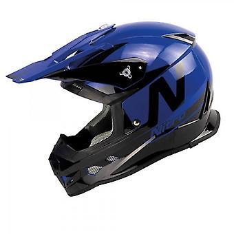 Nitro MX700 Motocross Helmet Black Blue Gloss