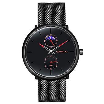 SUPBRO Ultra thin men's watches casual black quartz minimalist with black mesh strap(2)