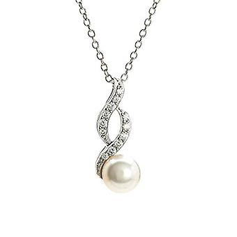 Eye Candy - Women's necklace, sterling silver 925 rhodium, pendant with fresh water pearl and 12 white zircons, 45 cm - Ref. 4045425027429