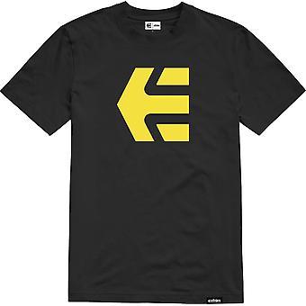 Etnies Icon Short Sleeve T-Shirt in Black/Yellow