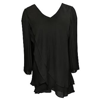 Laurie Felt Women's Top Woven Reversible Pleated Sleeve Black A379346