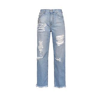 Pinko Maddie 16 Mom Fit Jeans With Rhinestones