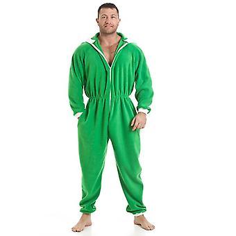 Camille Mens All In één groene Fleece Hooded gepot pyjama's Onesie grootte S-5XL