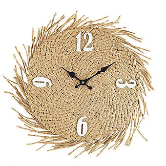 Rebecca möbler dekorativ klocka att hänga halm Mdf land 45x45x4.5
