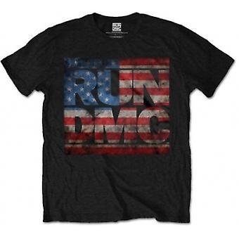 Run DMC Americana Logo Mens Black T Shirt: Large