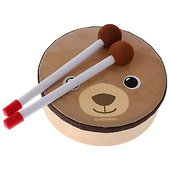 Cartoon bear pattern drum musical toy percussion instrument with drum sticks strap for children kids